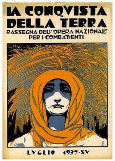 """La Conquista della Terra (The conquest of the Earth) magazine, July 1937, Cover design woodcut by Duilio Cambellotti (Italian, 1876-1960). Published by the Fascist organization """"Opera Nazionale Combattenti"""" 1935-1939."""