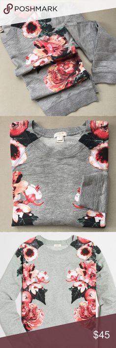 j crew factory • floral sweatshirt NWT • floral print on both sides of front and over shoulder • back doesn't have print • color: heather grey • long sleeves • cotton • third stock photo • no trades • 1002800 J. Crew Factory Tops Sweatshirts & Hoodies