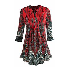 Womens Tunic Top  Red Paisley Print Pleated Long Fit Blouse  2X >>> Read more reviews of the product by visiting the link on the image.