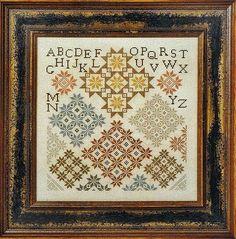 """Vintage Stars"" Cross Stitch Pattern & Threads JEANNETTE DOUGLAS DESIGNS Sampler #JeannetteDouglasDesigns"