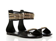 Black/Gold Ankle Cuff Flats by Guiseppe Zanotti