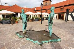 """Peeing"" - David Cerny's sculpture at the Franz Kafka Museum in Prague, shows two males urinating into a Czech-shaped pool"