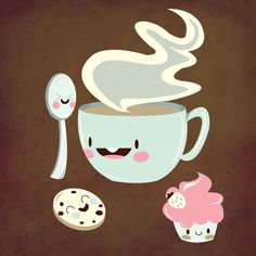 Coffee! I love the spoon's face - it's like it super excited to stir the coffee hehe