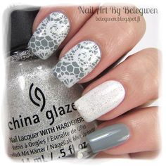 Nail Art by Belegwen: China Glazen Intelligence, Integrity & Courage and The Outer Edge (on top of the white polish). Stamping plate is Lace Nail Design, Lace Nail Art, Lace Nails, Nail Art Diy, Manicure Nail Designs, Nail Manicure, Nail Art Designs, Fabulous Nails, Gorgeous Nails