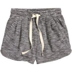 H&M Short sweatshirt shorts ($9.08) ❤ liked on Polyvore featuring shorts, bottoms, pants, pajamas, dark grey, hot short shorts, micro shorts, pleated shorts, mini shorts and hot shorts