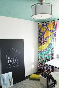 Chris loves Julia: Stale Nursery to Lively Studio Reveal! Love the blue ceiling. Urban Outfitters Tapestry, Colored Ceiling, Ceiling Color, Colorful Curtains, Bold Curtains, Patterned Curtains, Blue Ceilings, Guest Room Office, Young House Love
