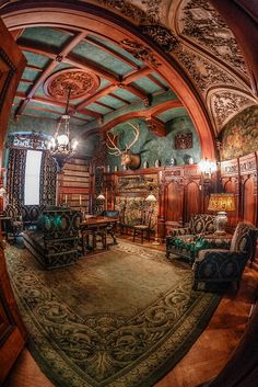 I think the fisheye lens makes this look more steampunk than it is. Frederick Vanderbilt Mansion in Hyde Park, NY (built in Beautiful Architecture, Interior Architecture, Interior And Exterior, Stairs Architecture, Concept Architecture, Victorian Interiors, Victorian Homes, Victorian Library, Victorian Decor