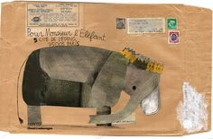 envelope art - carnetimaginaire: Beatrice Alemagna, Monsieur l'Elefant (envelope) Elephant Love, Elephant Art, Collage Illustration, Collage Art, Elephant Illustration, Graphic Illustrations, Scrapbooks, Envelope Art, Envelope Design