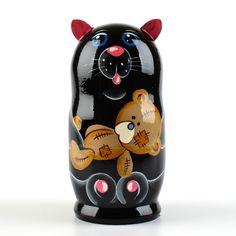 Cat with Teddy Bear Nesting Doll | Animal matryoshkas | The Russian Store
