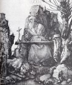 """Albrecht Durer (1471-1528) -  St. Jerome By The Pollard Willow.  Drypoint,  1512, 208 x 185 cm (81.89"""" x 72.83"""").  Private collection"""