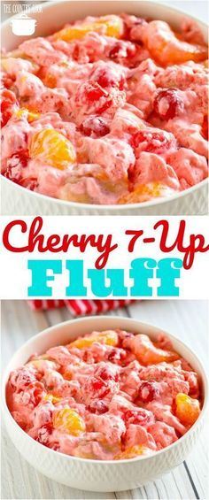 Cherry fluff, Desserts, Cherry Fluff recipe from The Country Cook Fluff Desserts, Dessert Salads, Fruit Salad Recipes, Köstliche Desserts, Dessert Recipes, 7 Up Salad Recipe, Fruit Deserts Recipes, Easy Fruit Salad, Cherry Jello Recipes