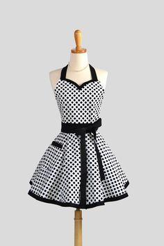 Sweetheart Retro Apron / Cute Retro Womens Apron in Black and White Michael Miller Ta dots Super Cute