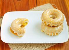 Pumpkin Doughnuts with Honey Glaze via Christina of Dessert for Two