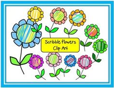 Scribble Flowers Clip Art