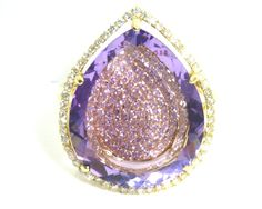 Stunning Amethyst, Diamond, and 14K Gold Halo Cocktail Ring. Serious bling, ladies!