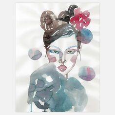 Flower Hair Girl 8.4x11 Original  by Samantha Hahn