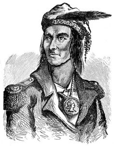 "Chief Tecumseh: Tecumseh (War of 1812). His name means: ""a flying tiger"". A Shawnee Native, born of a Creek mother, near the banks of Mad River, a few miles from Springfield, Ohio."