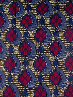 tissu reel wax africain fond blanc bulles de points marrons au motif feuiiles rw2970403 - Reel wax - Wax