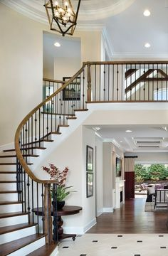 Modern Staircase Design Ideas - Stairs are so usual that you do not provide a doubt. Look into best 10 examples of modern staircase that are as magnificent as they are . Foyer Staircase, Curved Staircase, Stair Railing, Staircase Design, Staircases, Banisters, Railings, Black Banister, Banister Ideas