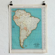 Vintage Map Of South America