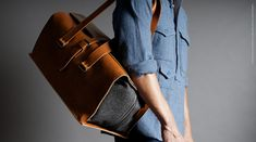 "An exquisite masterpiece of forward-thinking design and traditional Italian leather mastery. A holdall with such a high editorial appeal. Casual yet über smart, fitting to every style from dress down denim to sharp-suited traveling. What sets it apart The generously sized (52 x 26 x 20 cm / 20.4""x 10""x 8"") Italian veg tan leather and wool holdall fully opens and luxuriously wraps around your clothes. It features two shoulder straps (45cm / 17"") and two large inside co..."