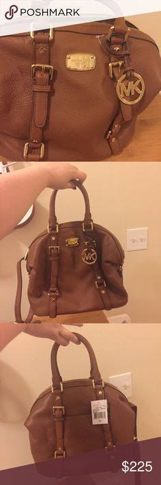 """Authentic MK bag. Authentic MK bag. NWT. Never used. Perfect condition. Bottom is about 11 inches wide. Top to bottom measures 12 inches. In shade """"luggage"""". This is a medium Bedford satchel. No holds. See other post for additional pics. Michael Kors Bags Satchels"""