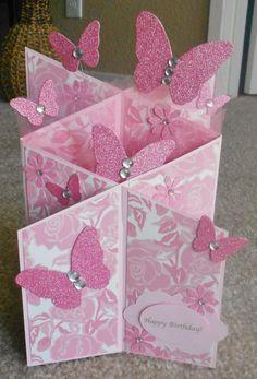 Handmade butterfly cascade card