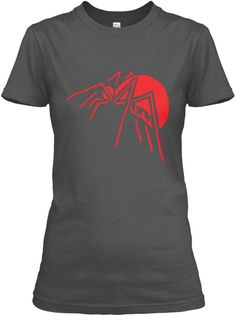 Not your run-of-the-mill, generic spider design.  This is an original spider drawing created in the margins of class notes in a college lecture.  Stark, simple, minimalist, and surreal;  this is the ultimate in wearable, arachnid art.This version is red on a variety of colors.Enjoy!