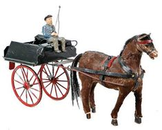 horse with car, horse papier mâché / wood, carriage How To Antique Wood, Vintage Wood, Horse Wagon, Pull Toy, Draft Horses, Horse Drawn, Antique Toys, Polar Bear, Folk Art
