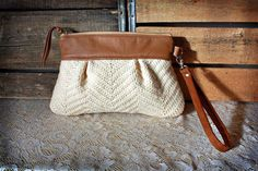 Wristlet/ Pouch/ Clutch in Leather and Upcycled by cindymars7, $48.00