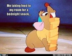 Me taking food to my room for a bednight snack