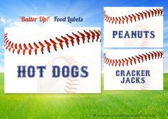 Baseball FOOD LABEL - tent - Printable DIY Digital File - custom text