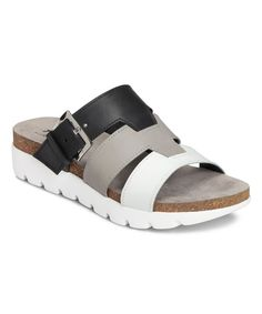 Take a look at this Black Good Throw Leather Sandal on zulily today! Slide Sandals, Strap Sandals, Women's Shoes Sandals, Leather Sandals, Shoe Boots, Comfortable Walking Sandals, Comfortable Shoes, Gold Slippers, Only Shoes