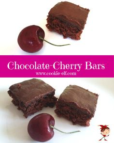 Chocolate-Cherry Bars - an easy cake mix cookie recipe from Pillsbury Bake-Off from The Cookie Elf. Chocolate Cake Mix Cookies, Bar Cookies, Cookie Bars, Cake Mix Cookie Recipes, Cake Recipes, Dessert Recipes, Pillsbury Cookie Cake, Splenda Recipes, Cherry Brownies