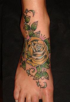 yellow rose tattoo on foot. gonna get one for my pap <3