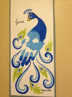 Hand print peacock