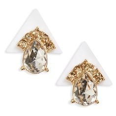 Sole Society Deco Pyramid Stud Earrings (75 SAR) ❤ liked on Polyvore featuring jewelry, earrings, white, triangle jewelry, triangle earrings, art deco inspired jewelry, art deco jewellery and earrings jewelry