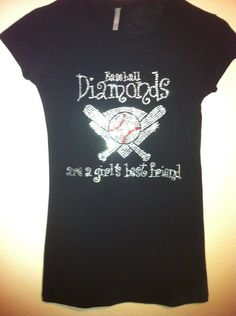 Plus Size Baseball Rhinestone Bling Shirt by BlingQueenDesigns, $28.00