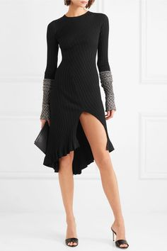 Metallic ruffled ribbed-knit black dress #lbd #outfit #chic #inspiration