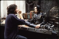 "Tim Burton chats with Johnny Depp as half-formed Edward. | 13 Beautifully Creepy Behind-The-Scenes Photos Of ""Edward Scissorhands"""
