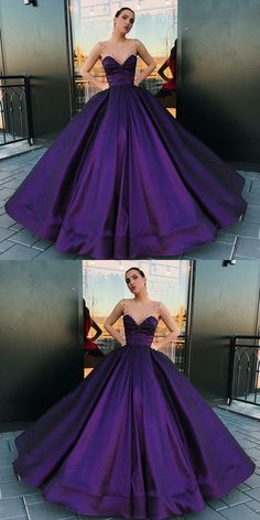 modest purple ball gown prom dresses, unique a line round neck party dresses, elegant long satin evening gowns with pearls #promdress #purpledress #ballgown