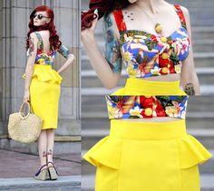 Peplum Pencil Skirt, Designed By Me Top, Aldo Pineapple Necklace, Vintage Bag, Reserved Strwa Wedges