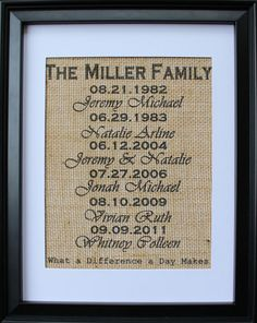 What a Difference a Day Makes WITH Names and LAST NAME Burlap Wall Art , Burlap Print , Family Dates and Names on Burlap