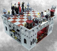 Lego chess set of Mistborn by Brandon Sanderson.  Artwork by Rick Martin.