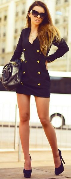 #summer #classy #outfits | Military Blazer Little Back Dress