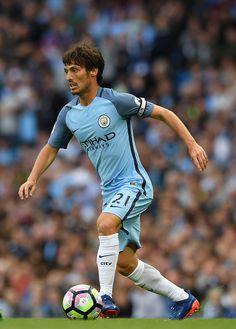 Manchester City player David Silva in action during the Premier League match between Manchester City and Sunderland at Etihad Stadium on August 13...