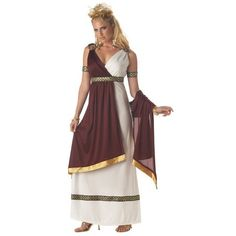California Costumes Women's Roman Empress Costume,White/Burgundy,X-Large