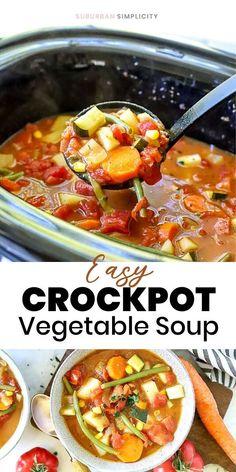 Crock Pot Vegetables, Vegetable Soup Recipes, Veggie Soup, Veggies, Slow Cooker Soup, Slow Cooker Recipes, Slower Cooker, Healthy Dinner Recipes, Healthy Snacks