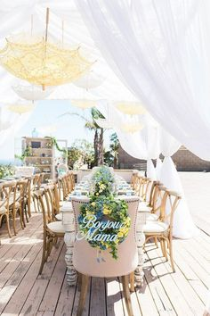 An outdoor French inspired baby shower featuring a yellow and blue color palette for a perfect event Baby Shower Brunch, Tent Baby Shower, Classy Baby Shower, Beautiful Baby Shower, Baby Shower Parties, Baby Shower Themes, Baby Shower Decorations, Shower Ideas, Umbrella Baby Shower