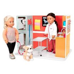 Let your little one's imagination run free with the Our Generation® Vet Clinic Playset™. This pretend veterinarian clinic works with your child's Our Generation doll, allowing them and their companion to run their own little clinic. Accessories like exam tables, pet food, file folders and elastic bandages will have your kid learning what it takes to care after their furry friend, all in a make-believe, whimsical setting.
